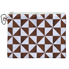 Triangle1 White Marble & Reddish Brown Wood Canvas Cosmetic Bag (xxl) by trendistuff