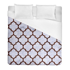 Tile1 White Marble & Reddish Brown Wood (r) Duvet Cover (full/ Double Size) by trendistuff