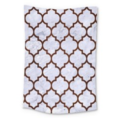 Tile1 White Marble & Reddish Brown Wood (r) Large Tapestry by trendistuff