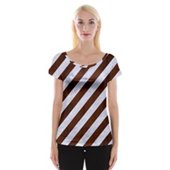 Stripes3 White Marble & Reddish Brown Wood (r) Cap Sleeve Tops