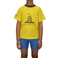 Gadsden Flag Don t Tread On Me Kids  Short Sleeve Swimwear by MAGA