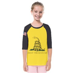 Gadsden Flag Don t Tread On Me Kids  Quarter Sleeve Raglan Tee