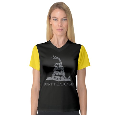 Gadsden Flag Don t Tread On Me V-neck Sport Mesh Tee by snek