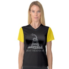 Gadsden Flag Don t Tread On Me V Neck Sport Mesh Tee by snek