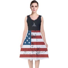 Gadsden Flag Don t Tread On Me V-neck Midi Sleeveless Dress  by snek