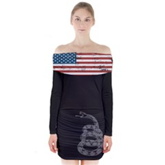 Gadsden Flag Don t Tread On Me Long Sleeve Off Shoulder Dress by snek