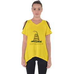 Gadsden Flag Don t Tread On Me Cut Out Side Drop Tee by MAGA