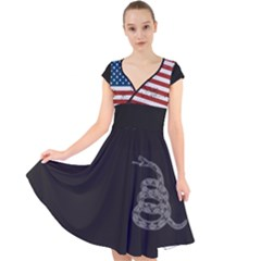 Gadsden Flag Don t Tread On Me Cap Sleeve Front Wrap Midi Dress