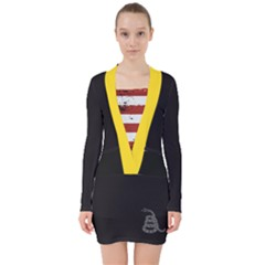 Gadsden Flag Don t Tread On Me V Neck Bodycon Long Sleeve Dress by snek