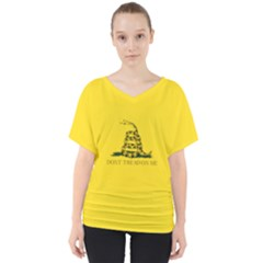 Gadsden Flag Don t Tread On Me V Neck Dolman Drape Top by MAGA