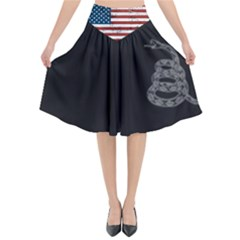 Gadsden Flag Don t Tread On Me Flared Midi Skirt by snek