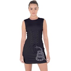 Gadsden Flag Don t Tread On Me Lace Up Front Bodycon Dress