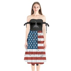 Gadsden Flag Don t Tread On Me Shoulder Tie Bardot Midi Dress by snek