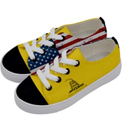 Gadsden Flag Don t Tread On Me Kids  Low Top Canvas Sneakers by snek