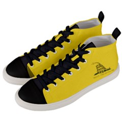 Gadsden Flag Don t Tread On Me Men s Mid Top Canvas Sneakers by MAGA