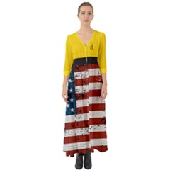 Gadsden Flag Don t Tread On Me Button Up Boho Maxi Dress by snek