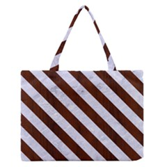 Stripes3 White Marble & Reddish Brown Wood Zipper Medium Tote Bag by trendistuff