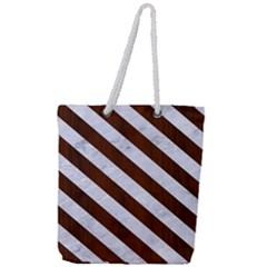 Stripes3 White Marble & Reddish Brown Wood Full Print Rope Handle Tote (large)