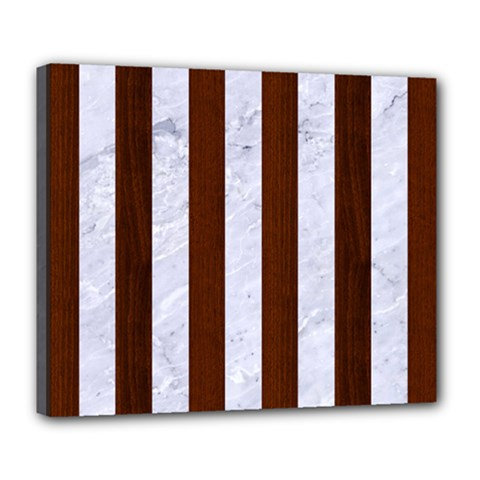 Stripes1 White Marble & Reddish Brown Wood Deluxe Canvas 24  X 20   by trendistuff