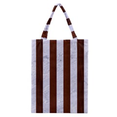 Stripes1 White Marble & Reddish Brown Wood Classic Tote Bag by trendistuff