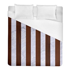 Stripes1 White Marble & Reddish Brown Wood Duvet Cover (full/ Double Size) by trendistuff