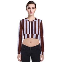 Stripes1 White Marble & Reddish Brown Wood Bomber Jacket
