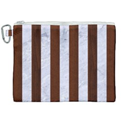 Stripes1 White Marble & Reddish Brown Wood Canvas Cosmetic Bag (xxl) by trendistuff