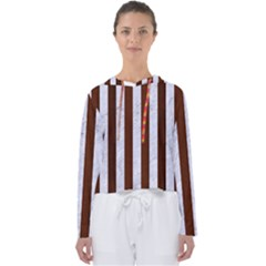 Stripes1 White Marble & Reddish Brown Wood Women s Slouchy Sweat