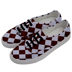 Square2 White Marble & Reddish Brown Wood Men s Classic Low Top Sneakers by trendistuff