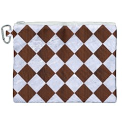 Square2 White Marble & Reddish Brown Wood Canvas Cosmetic Bag (xxl) by trendistuff