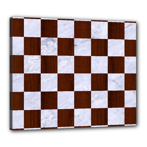 Square1 White Marble & Reddish Brown Wood Canvas 24  X 20  by trendistuff
