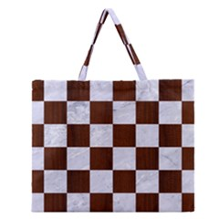 Square1 White Marble & Reddish Brown Wood Zipper Large Tote Bag by trendistuff