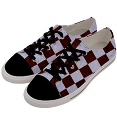 Square1 White Marble & Reddish Brown Wood Men s Low Top Canvas Sneakers by trendistuff
