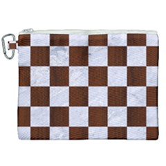 Square1 White Marble & Reddish Brown Wood Canvas Cosmetic Bag (xxl) by trendistuff
