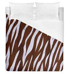 Skin3 White Marble & Reddish Brown Wood Duvet Cover (queen Size) by trendistuff