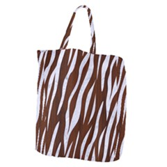 Skin3 White Marble & Reddish Brown Wood Giant Grocery Zipper Tote by trendistuff