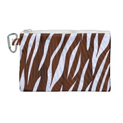 Skin3 White Marble & Reddish Brown Wood Canvas Cosmetic Bag (large) by trendistuff
