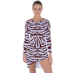 Skin2 White Marble & Reddish Brown Wood (r) Asymmetric Cut Out Shift Dress