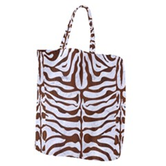 Skin2 White Marble & Reddish Brown Wood (r) Giant Grocery Zipper Tote by trendistuff