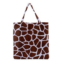 Skin1 White Marble & Reddish Brown Wood (r) Grocery Tote Bag by trendistuff