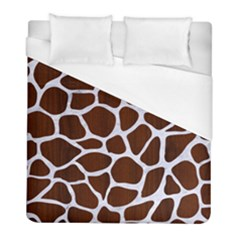 Skin1 White Marble & Reddish Brown Wood (r) Duvet Cover (full/ Double Size) by trendistuff