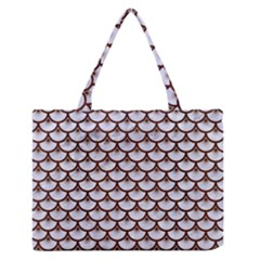 Scales3 White Marble & Reddish Brown Wood (r) Zipper Medium Tote Bag by trendistuff