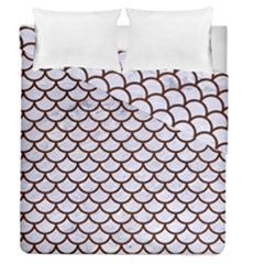 Scales1 White Marble & Reddish Brown Wood (r) Duvet Cover Double Side (queen Size)