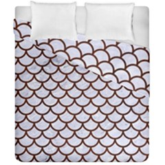 Scales1 White Marble & Reddish Brown Wood (r) Duvet Cover Double Side (california King Size) by trendistuff
