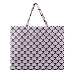 Scales1 White Marble & Reddish Brown Wood (r) Zipper Large Tote Bag by trendistuff