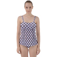 Scales1 White Marble & Reddish Brown Wood (r) Twist Front Tankini Set