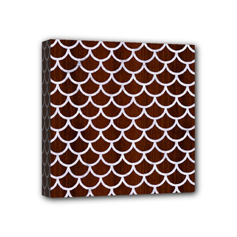 Scales1 White Marble & Reddish Brown Wood Mini Canvas 4  X 4
