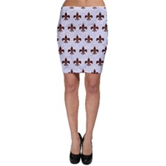 Royal1 White Marble & Reddish Brown Wood Bodycon Skirt