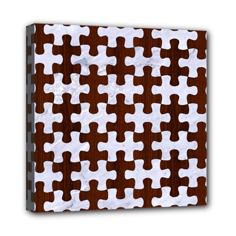 Puzzle1 White Marble & Reddish Brown Wood Multi Function Bag	 by trendistuff