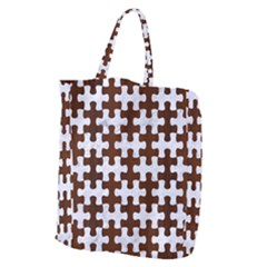 Puzzle1 White Marble & Reddish Brown Wood Giant Grocery Zipper Tote by trendistuff